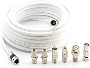 THE CIMPLE CO - Digital Coaxial Cable Kit with Universal Ends -RG6 Coax Cable and six (6) Piece Adapter Kit Includes Male Female RCA BNC F81, and Barrel Connectors - White, 40 Feet