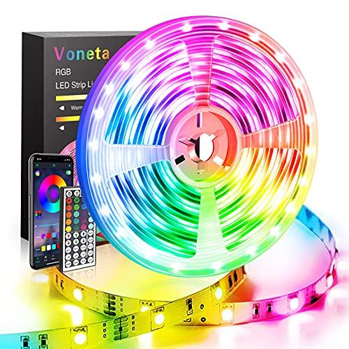 LED Striscia 10M, Voneta Luci LED 5050 RGB, Strip Led Controllato da Bluetooth APP e 44 Tasti Telecomando, Sincronizza con Musica, Strisce LED Decorazioni per TV, Camera da letto, Festa