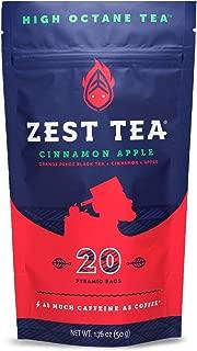 Zest Tea Energy Hot Tea, High Caffeine Blend Natural & Healthy Traditional Coffee Substitute, Perfect for Keto, 150 mg Caffeine per Serving, 20 Sachets (1 Pouch), Apple Cinnamon Black Tea
