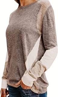 Womens Fashion Pullover Casual Round Neck Patchwork Thicken Long Sleeve Loose Sweater Sweatshirt Tops