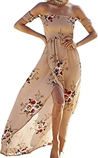 dd6ac1814 SVALIY Women Floral Off The Shoulder Split Chiffon Maxi Beach Dresses  Wedding Party