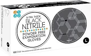 ASAP Black Nitrile Powder Free Examination Gloves, Disposable, 4 mil, Black (Large - Box of 100)