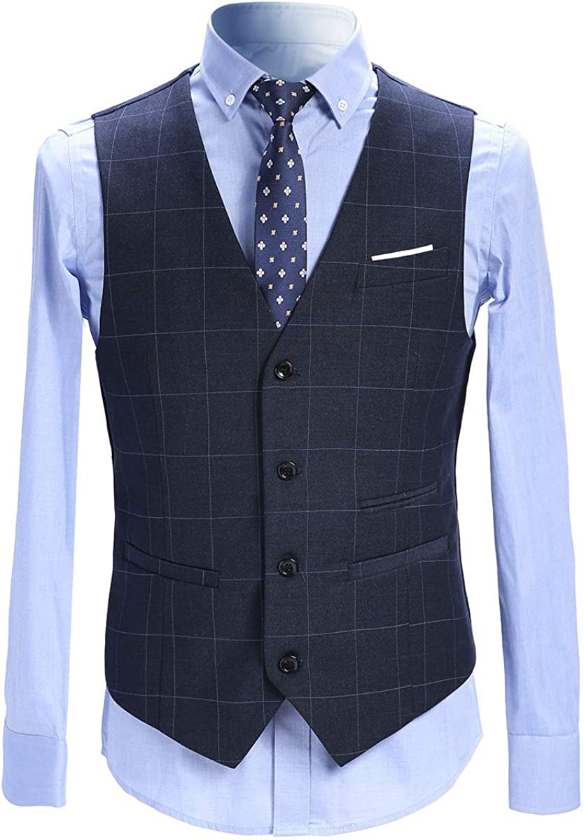 HOTK Men's Suits 3 Piece Slim Fit Checked Suit Blue/Gray Single Breasted Tuxedo Formal Business Jacket Waistcoat