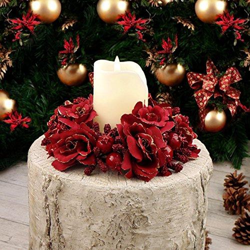 EDG ENZO DE GASPERI Ghirlanda Centrotavola Girocandela Natale Shabby Chic Rose e Bacche Diametro 20 cm