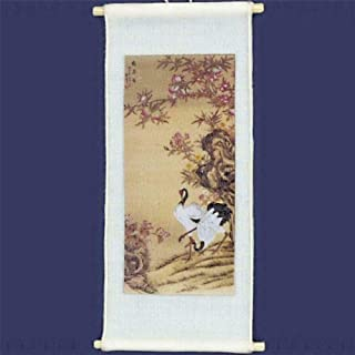 Dollhouse Chinese Scroll Crane Pair a1712 Falcon Painting on Silk Miniature