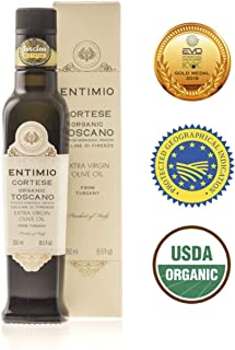 Entimio Cortese | Delicate Organic Olive Oil Extra Virgin | 2018 Harvest Italian Olive Oil from Italy, Tuscany, 2019 Gold Award | First Cold Pressed, Rich in Antioxidants | 8.5 fl oz