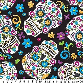 Sugar Skulls Black Fleece Throw Blanket with Finished Edges