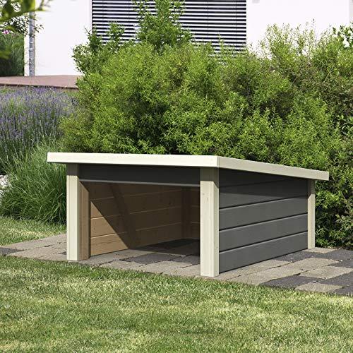 HORI®Mähroboter Garage Terragrau Dach aus Massivholz I 78,6 x 96 cm I Carport Rasenroboter Unterstand