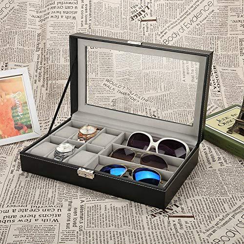 Caja de exhibición de gafas de sol, caja de joyería, piel sintética con ventana de cristal transparente y cerradura.
