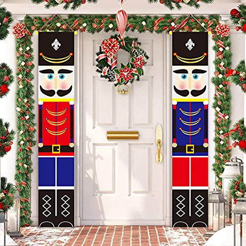 ALLODUCK 2Pcs Nutcracker Christmas Decorations - Life Size Nutcracker Soldier Porch Signs -Xmas Hanging Banners Sign for Outdoor Home Wall Door Office Garage Apartment Holiday Party Decoration