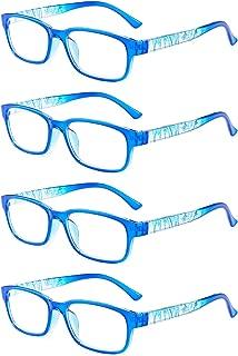 Inlefen Reading Glasses Unisex Comfortable 4 Pack Retro Spring Hinge Glasses