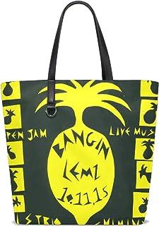 FANTAZIO Schultertasche für Damen, gelbe Ananas-Art