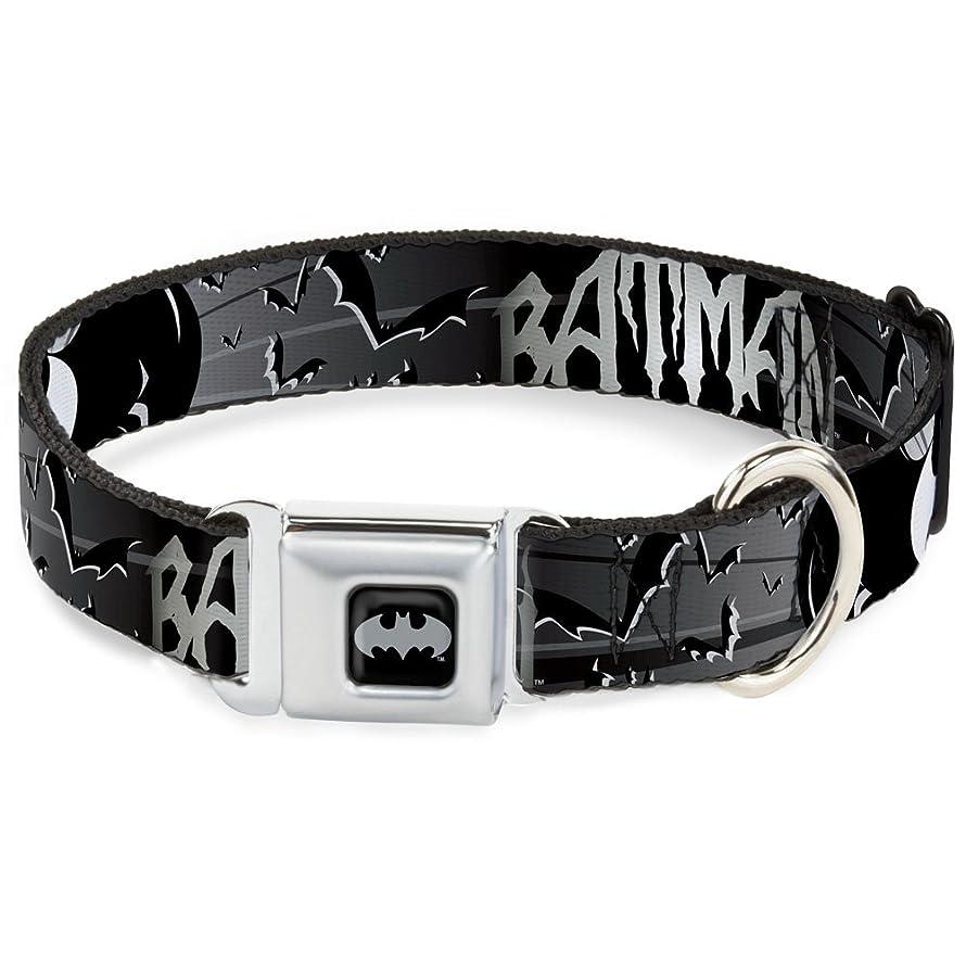 Buckle-Down Seatbelt Buckle Dog Collar - Batman w/Bat Signals & Flying Bats Black/White