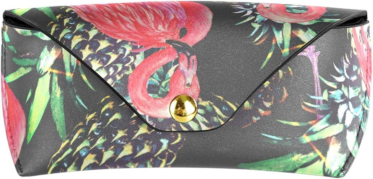 Multiuse Wallet PU Leather Sunglasses Case Eyeglasses Pouch Portable Goggles Bag Flamingo Pineapple