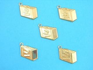 LOT 5 CHARMS METAL doré : Valise 18 mm - Pendentif décoratif en métal - DIY pour embellissements de bijoux , scrapbooking.
