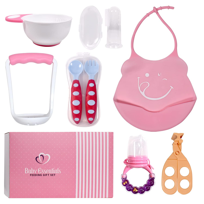 Baby Feeding Gift Set 8PC: Silicone 5 popular Bowl Bib Finally popular brand Spoon Masher and