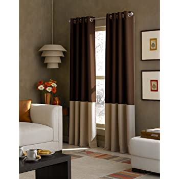 Jenin WPM WORLD PRODUCTS MART 2 Pieces Curtain Set Beige Brown Gold Luxury Embroidery Panels Grommets Drapes Yasmen Curtain Set