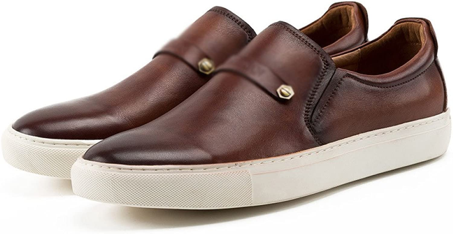 ZPJSZ Men Four Seasons Business Leisure Fashion Youth Leather shoes,Brown-38