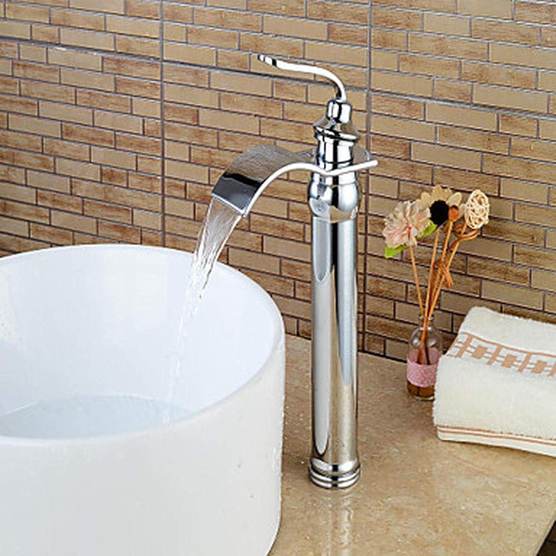 Ayhuir Waschbecken Wasserhahn - Wasserfall Chrom Zentrum Einhand Einlochmontage Wasserhahn Messing