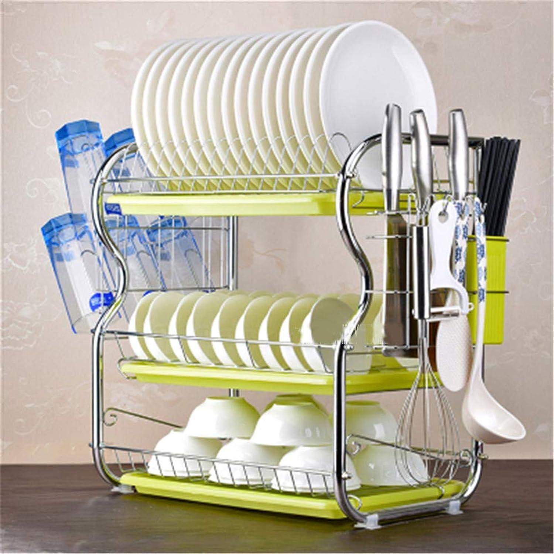 Drain Kitchen Rack, 3-Layer Dish Rack Stainless Steel Detachable Inssizetion Kitchen Sink Furniture Storage Rack