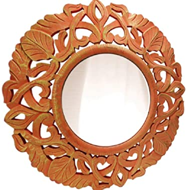 R.A.A.WOOD CARVING Home Decor Wall Mirror Antique Handicraft Style for Living Room, Bathroom, Bedroom, Makeup (Size - 45 x 45