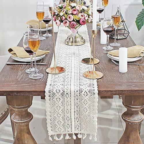 Camino de mesa de macramé, rectangular, encaje de ganchillo, mantel de ganchillo, camino de mesa de encaje con borlas para fiestas, granjas, restaurantes, bohemio, boda, decoración de mesa de comedor