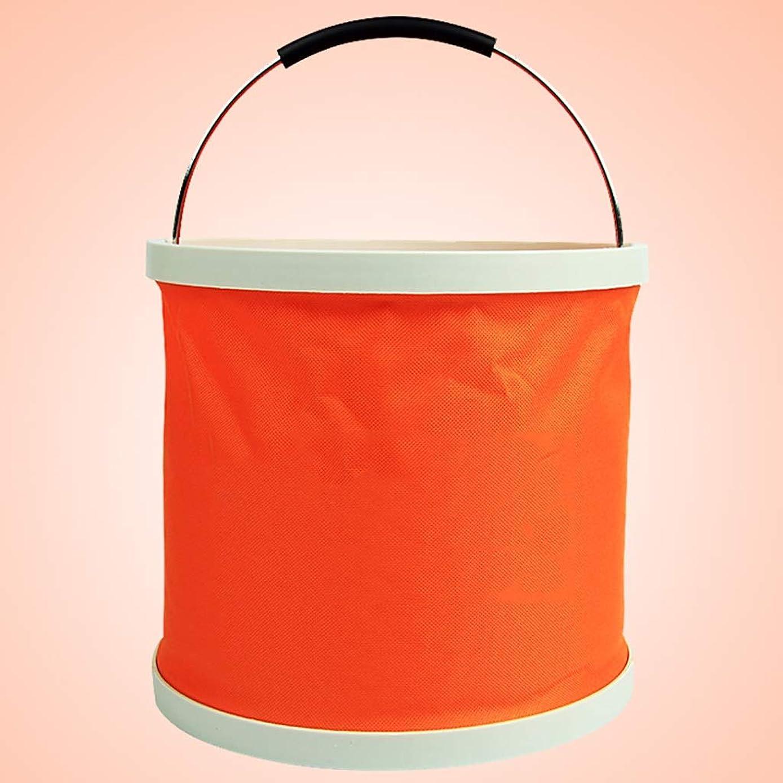 いくつかの賠償課税車載折りたたみ式洗車用バケツ、持ち運びが簡単、防水コーティング、滑り止めハンドル (色 : Orange, サイズ さいず : 34×24cm)