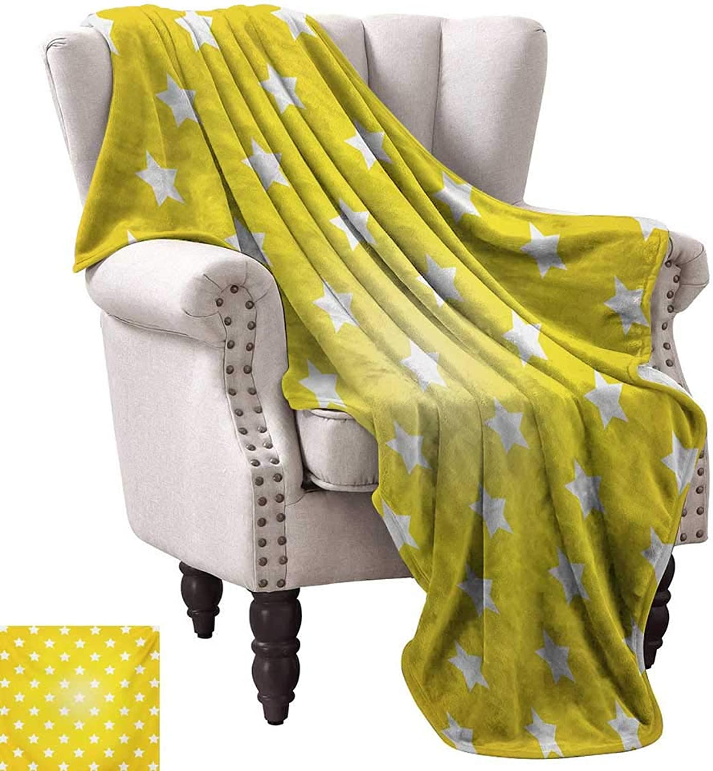 WinfreyDecor Yellow Home Throw Blanket Bursting Vibrant Hanging Stars Fun Retro Kids with Graphic Design Artistic Print Traveling,Hiking,Camping,Full Queen,TV,Cabin 50  Wx60 L White Yellow