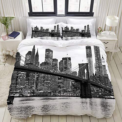 ALLMILL Set Biancheria da Letto,Tramonto del Ponte di Brooklyn con la Città Famosa Americana di...