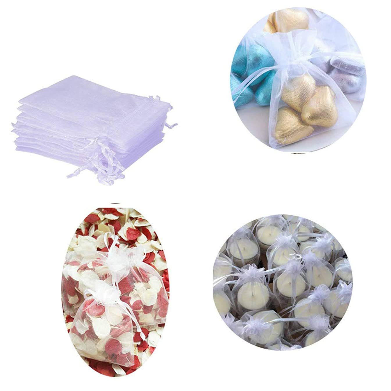 NszzJixo9 100 Organza Gift Bags-With Drawstring,For Wedding Party Love And Jewelry Packaging,Party Favors, Candy, Jewelry, Makeup, Cosmetics, Bathroom Soaps Pouches