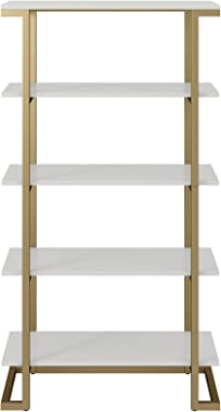 CosmoLiving Camila 5 Shelf Bookcase, White Bookshelf
