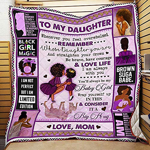 Mom to Daughter I Am Always with You Black Woman Purple Printed Cotton Quilts Christmas Birthday Thanksgiving Gift for Family Plush Throw Quilt (55x60 Ft)