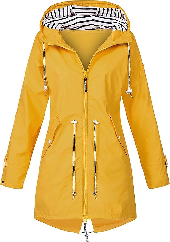 VonVonCo Womens Fashion Tops Pure Rain Jacket Outdoor Jackets Long Wear A Hat Raincoat Windproof