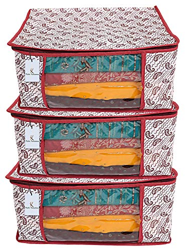 Kuber Industries Kerry 3 Piece Non Woven Saree Cover Set, Maroon,9 Inches Height