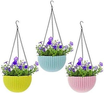 GTB Plastic Flower Pot Big Size 8.5 Inches, Multicolour, 3 Pieces