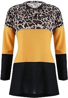 Patchwork Estampado Leopardo del Vendaje suéter Tops Mujeres de la Manera Larga Floja Ropa de la Manga