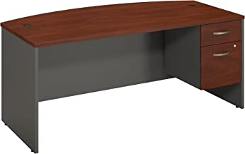 Bush Business Furniture Series C Collection 72W X 36D Bow Front Desk with 3/4 Pedestal in Hansen Cherry