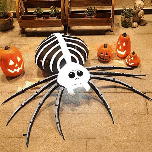 TOLEAD 5-Fuß aufblasbare Halloween-Spinne mit internen LED-Leuchten für Innenräume und Outdoor, Rasen-/Garten-/Gartendekorationen, schwarz und weiß