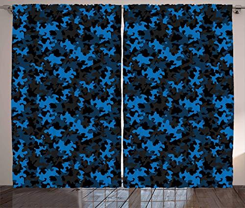 ABAKUHAUS Tarnen Rustikaler Vorhang, Dunkle Töne verstecken Sich, Wohnzimmer Universalband Gardinen mit Schlaufen und Haken, 280 x 245 cm, Armeegrün Schwarz Blau