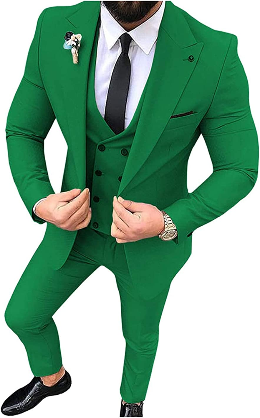 Suit Mens Slim Fit Formal 3 Piece Wedding Grooms Prom Tuxedos(Blazer+Vest+Pants)