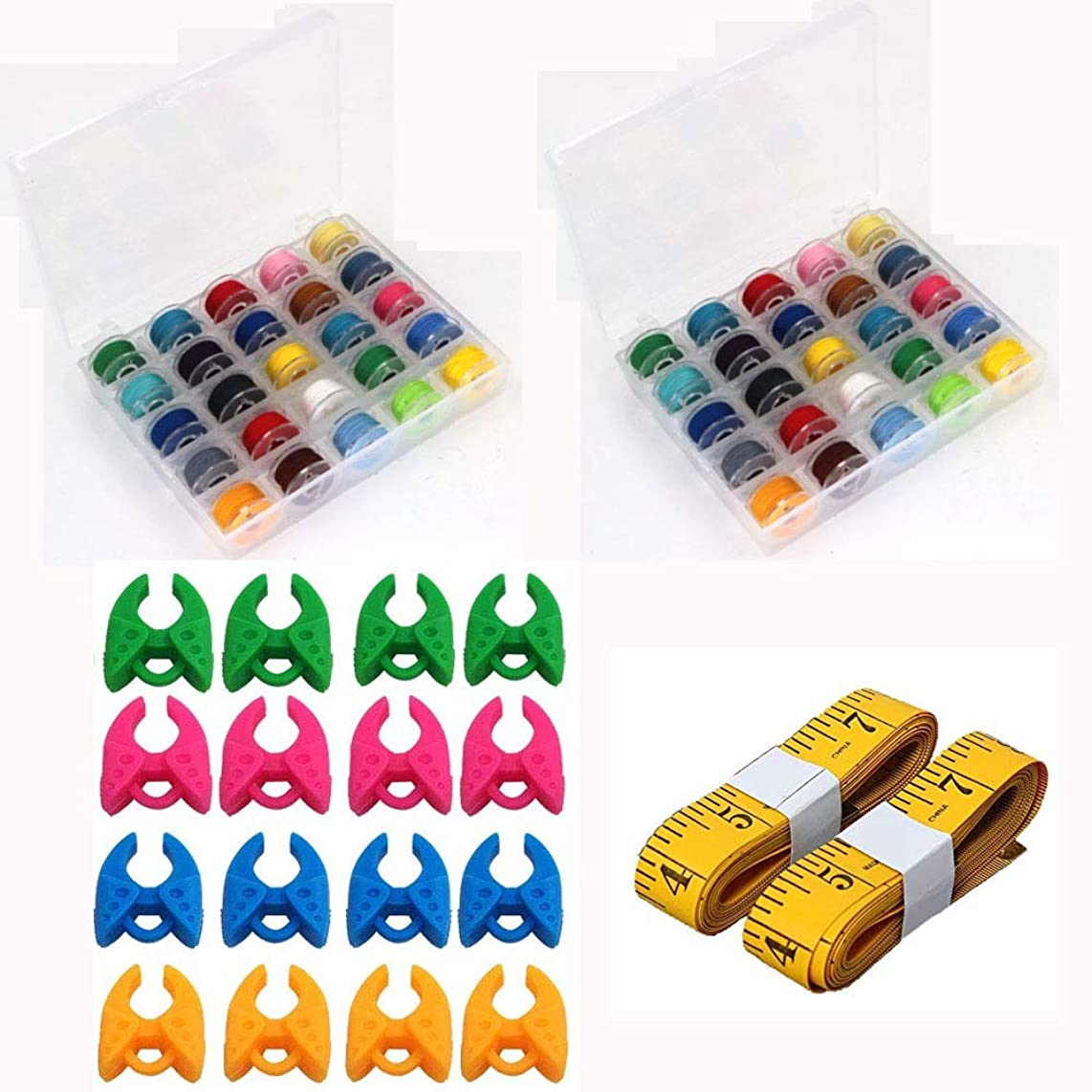 Ohaha 50 Pcs Bobbins and Sewing Thread with Case and 2 Pcs Soft Measuring Tapes for Brother Singer Babylock Janome Kenmore (Assorted Colors)
