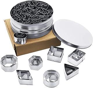 PUDSIRN Lot de 50 acier inoxydable,anti-adhésifs, moule à biscuits, 26 pièces de lettres de l'alphabet et 24 pièces de mot...