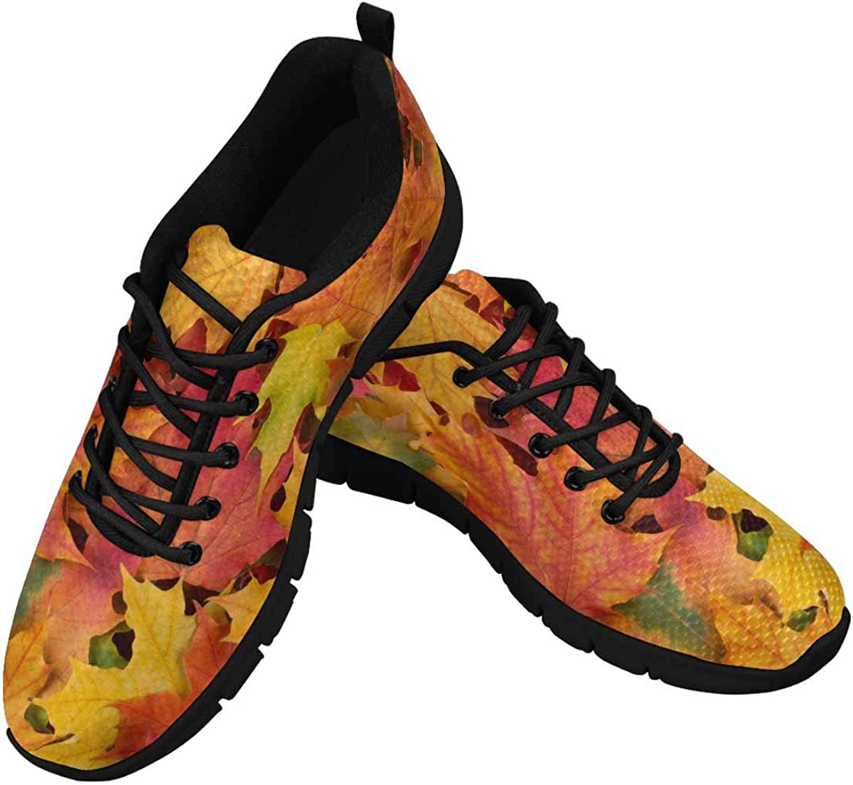 INTERESTPRINT Fall Leaves Background Women's Running Shoes Mesh Breathable Sports Casual Shoes