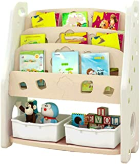 YLiansong Children s Toy Storage Rack Toddler s Toy Storage Organizer With Plastic Bins For Kid s Bedroom Playroom Room Storage Rack  Color White  Size 95CM