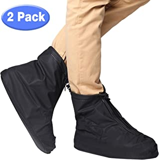 Waterproof Shoes Cover 2win2buyau Slip-resistant Galoshes Rainproof Overshoes Protector Rain Boots Cover with Adjustable Cuff and Zipper Closure Full Protection from Snow/Dust/rail for Travelling/Walking/ Running Men Women Black - 2 PACK
