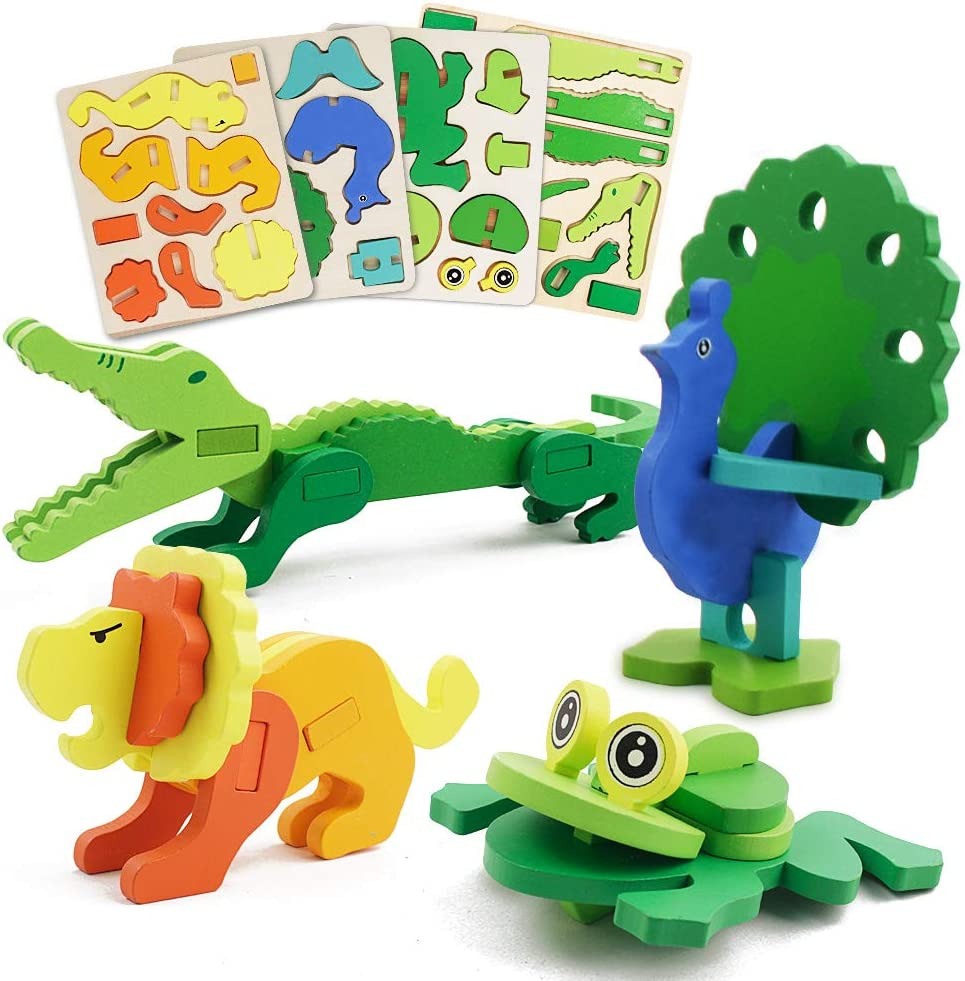 Wooden Puzzles for Toddlers-4 Daily bargain sale Pack Shape Ranking TOP6 Montes Animal Preschool