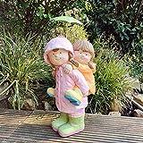 INtrenDU Garten Figur Junge und Mädchen mit Regenschirm für außen und innen 52cm