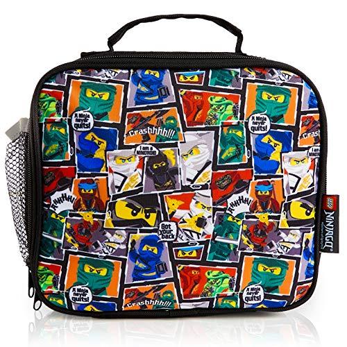 LEGO Ninjago Brotdose Kinder, Lunch Box Ninjago Spinjitzu für Mädchen, Jungen und Teenagers, Schwarz Lunchbox Kinder, Kühltasche für Schule und Reisen, Brotdose Kindergarten