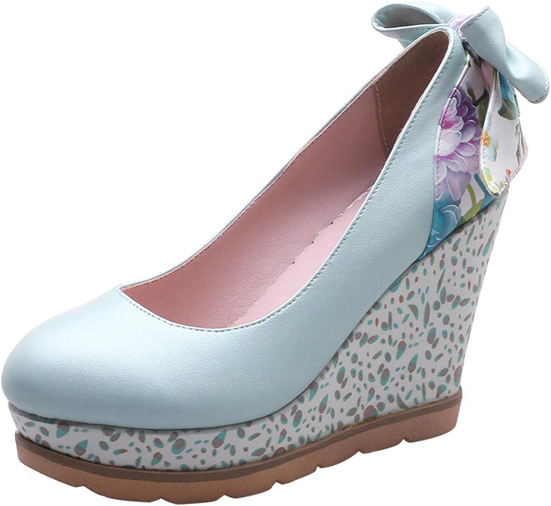 Kaizi Karzi Women Sweet Wedge Heel Court shoes with Bow