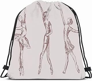 Ahawoso Gym Drawstring Bags Backpack String Bag 14X16 Pink Sketch Ballet Dancers People Ballerina Grace Dance Degas Girl Dancer Performer Letter Hand Poise Sport Sackpack Hiking Yoga Travel Beach